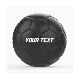 Black Soccer Ball Personalized Text Canvas Print