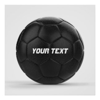 Black Soccer Ball Personalized Text Poster