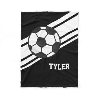 Black Soccer Ball Sports Personalized Name Fleece Blanket