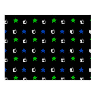 Black soccer balls and stars post cards