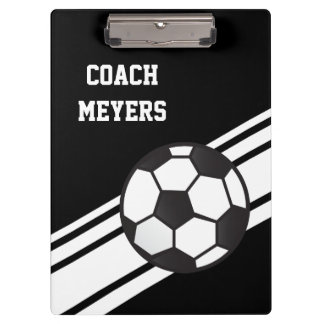 Black Soccer Coach Personalized Clipboard Clipboards