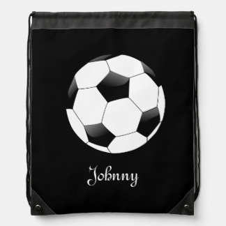 Black Soccer Football Personalized Drawstring Backpack