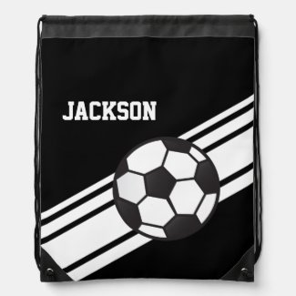 Black Soccer Stripes Cinch Bag