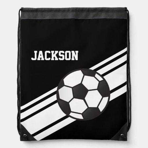 Black Soccer Stripes Drawstring Bag