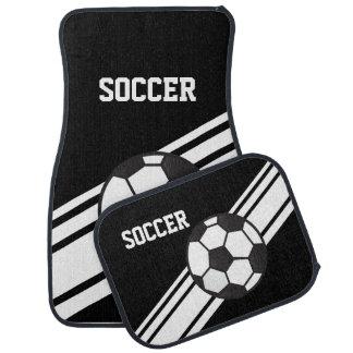 Black Soccer Stripes Sport Car Floor Mats Floor Mat