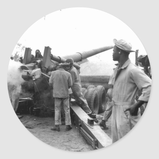 Black Soldiers Firing Artillery WWII Classic Round Sticker