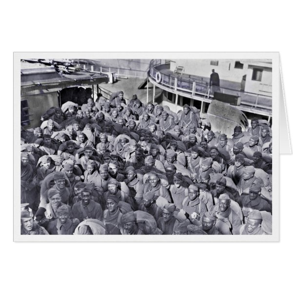 Black Soldiers on Transport Ship WWI Card