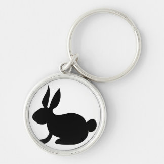 black solid side rabbit view.png Silver-Colored round keychain