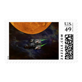 Black Space Rocket Ship Planet Scifi Stamp