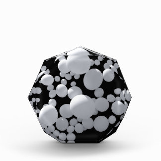 Black space with white  3D balls different sizes Awards