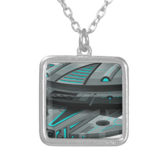 Black spaceship on white background silver plated necklace