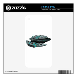 Black spaceship on white background skin for iPhone 4S