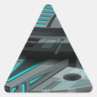 Black spaceship on white background triangle sticker