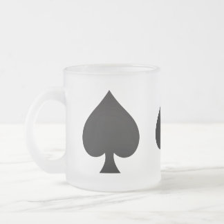 Black Spade - Cards Suit, Poker, Spear Frosted Glass Coffee Mug
