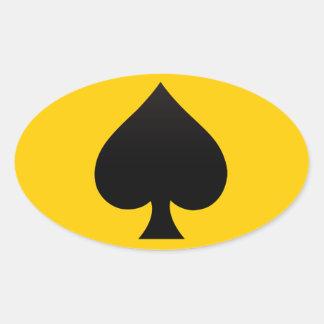 Black Spade - Cards Suit, Poker, Spear Oval Sticker