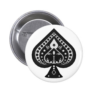 Black Spades: Playing Cards Suit: 2 Inch Round Button