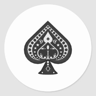 Black Spades: Playing Cards Suit: Classic Round Sticker