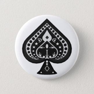 Black Spades: Playing Cards Suit: Pinback Button