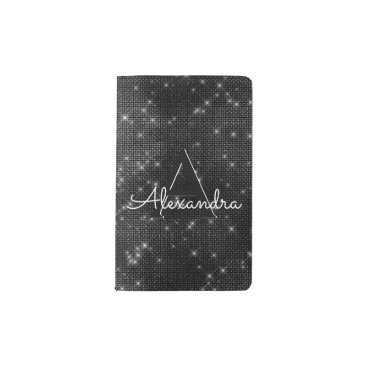 Professional Business Black Sparkle Bling Girly Monogram Notebook
