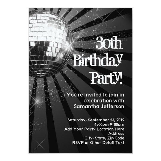 Black Sparkle Disco Ball 30th Birthday Party Card
