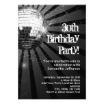 Black Sparkle Disco Ball 30th Birthday Party Personalized Announcements