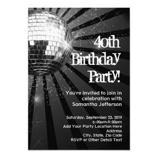 Black Sparkle Disco Ball 40th Birthday Party 5x7 Paper Invitation Card