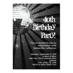 Black Sparkle Disco Ball 40th Birthday Party Custom Invites