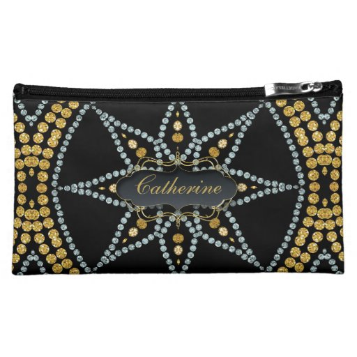Black Sparkle Gold Glitter Cosmetic Bags