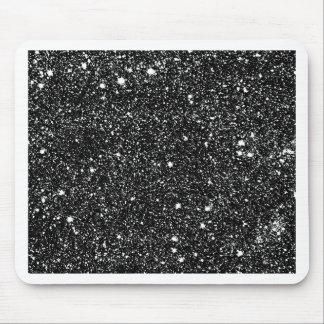Black Sparkle Stars Mouse Pad
