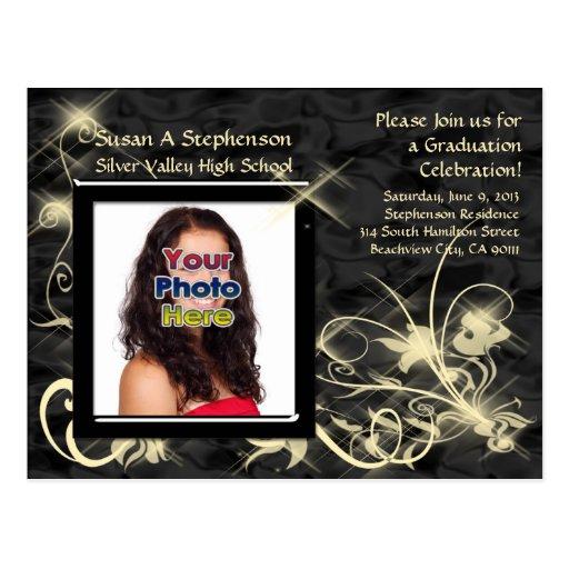Black Sparkle Swirl Graduation Announcement Postcard
