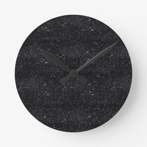 black sparkles round wall clocks zazzle