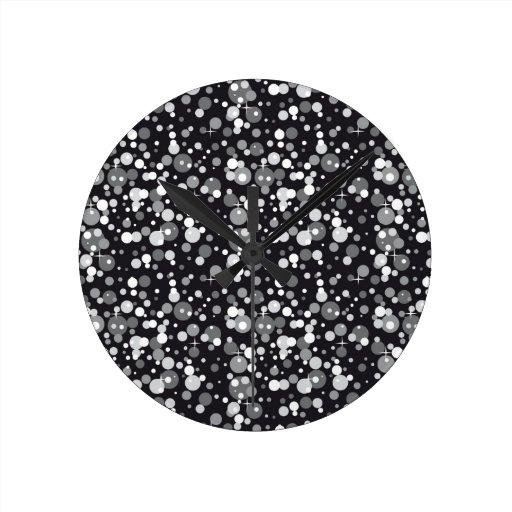 Black Sparkles Round Wall Clocks