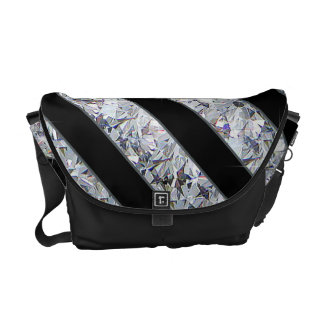 Black & Sparkling Diamond Like Stripes Courier Bag