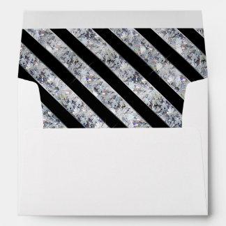 Black & Sparkling Diamond Like Stripes Envelope