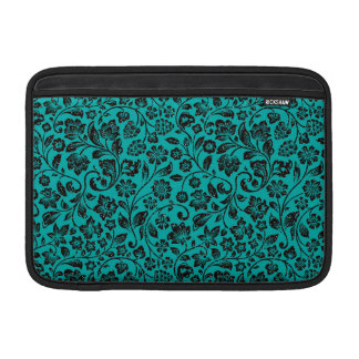 Black Sparkly Floral on Teal MacBook Sleeve