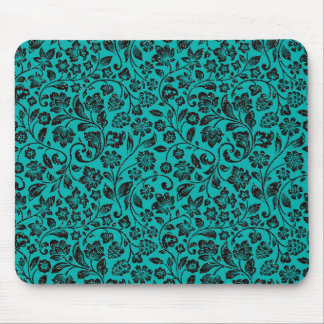Black Sparkly Floral on Teal Mouse Pad