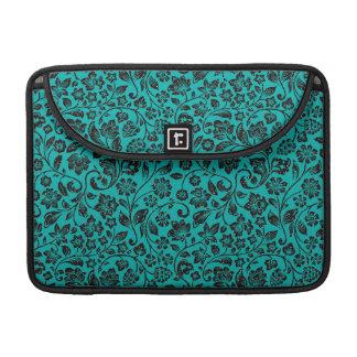 Black Sparkly Floral on Teal Sleeve For MacBooks
