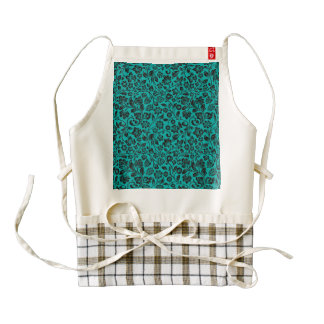 Black Sparkly Floral on Teal Zazzle HEART Apron