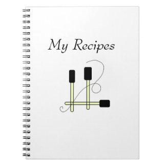 Black Spatulas Spiral Notebooks