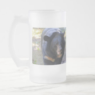 Black Spectacled Bear Frosted Glass Beer Mug