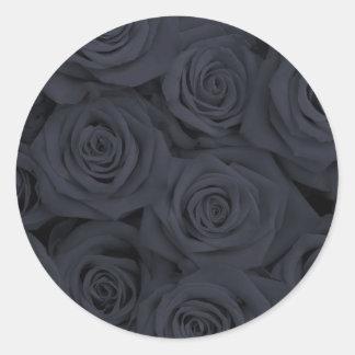 Black Spectacular Roses Classic Round Sticker