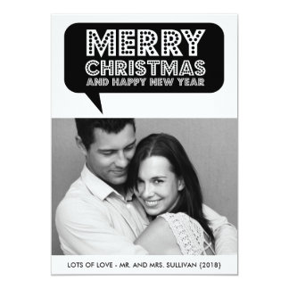 Black Speech Bubble Marquee Christmas Photo Card Custom Announcement