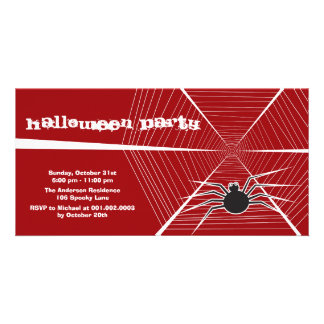 Black Spider And Web Halloween Party Invitation