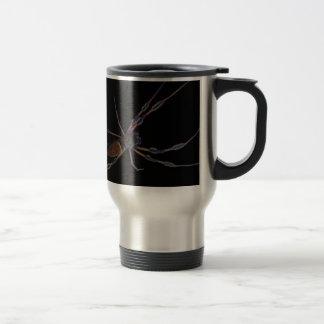 Black spider creeping and crawling mug