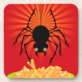 Black Spider Dropping Down to Steal Candy Corn Beverage Coasters