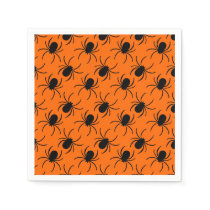 black spider halloween design napkin