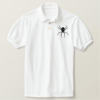 Black Spider Halloween Goth Fantasy Design Embroidered Polo Shirt