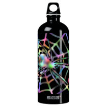 Black Spider in Web Halloween Aluminum Water Bottle