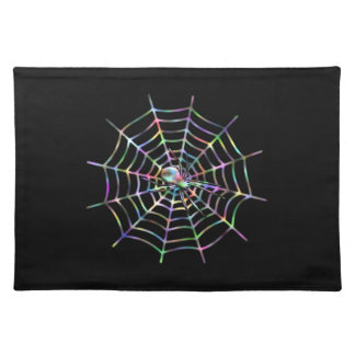 Black Spider in Web Halloween Placemat
