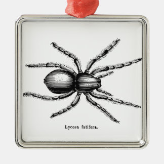 Black spider square metal christmas ornament